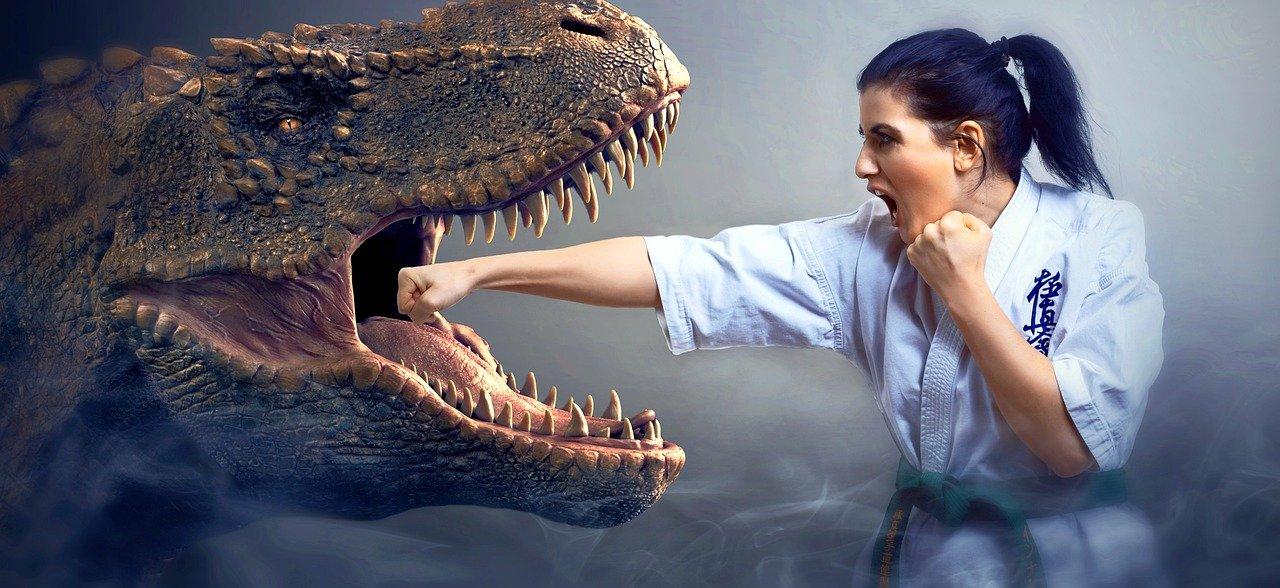 model, karate, dinosaur